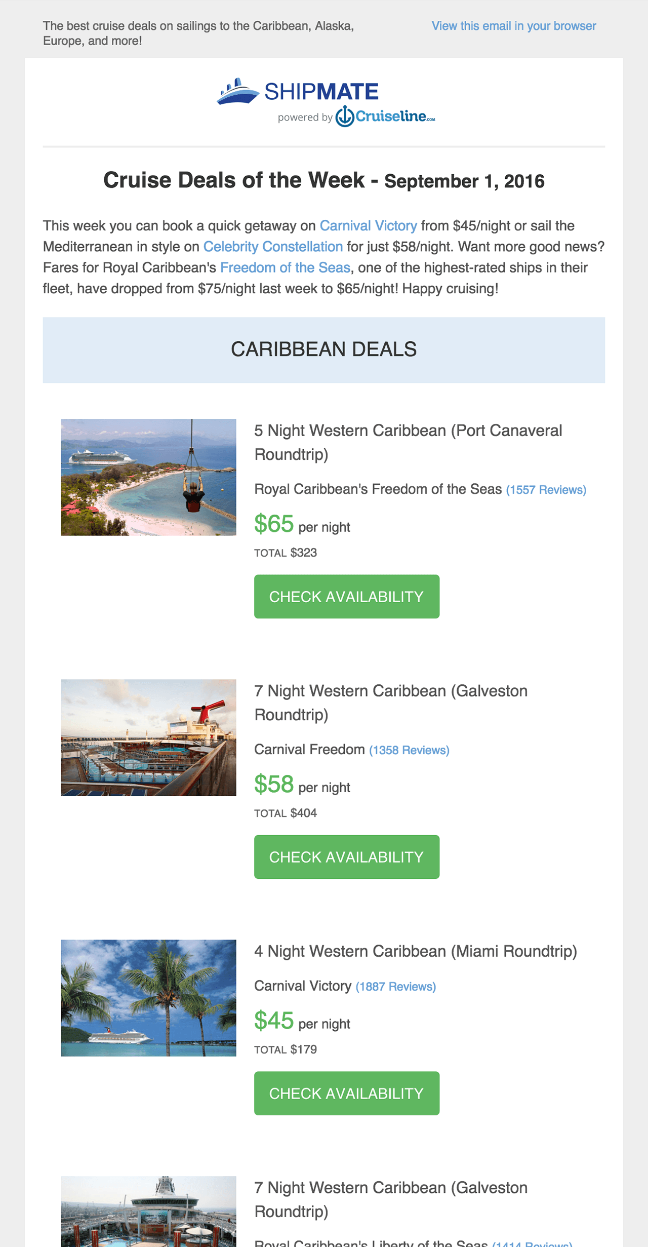 Top Cruise Deals By Cruise Line And Destination Cruiselinecom - Cruise deals from miami